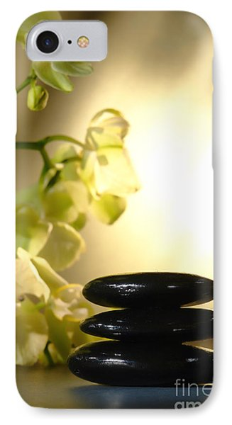 Stone Cairn And Orchids IPhone Case by Olivier Le Queinec