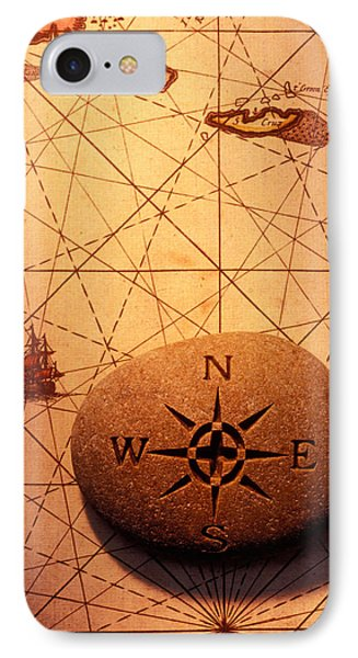 Stone Compass On Old Map Phone Case by Garry Gay
