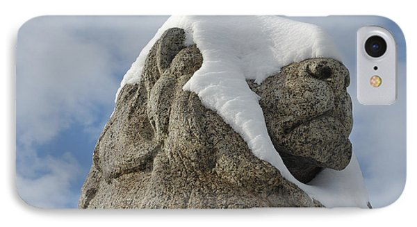 Stone Lion Covered With Snow Phone Case by Matthias Hauser