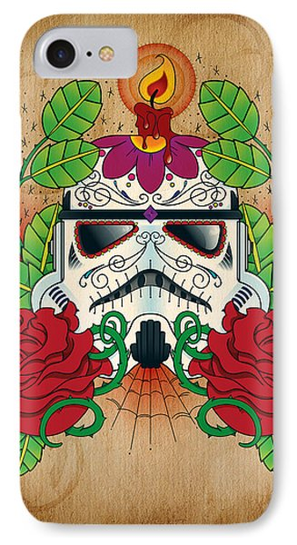 Storm Trooper Sugar Skull IPhone Case by Samuel Whitton