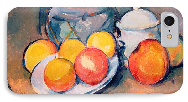 Straw Covered Vase Sugar Bowl And Apples IPhone Case by Paul Cezanne