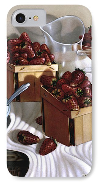 Strawberries And Cream 1997 IPhone Case by Larry Preston