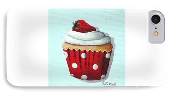 Strawberry Shortcake Cupcake IPhone Case by Catherine Holman