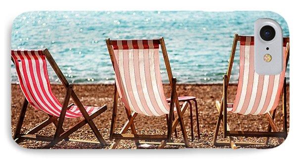 Stripy Deckchairs Pebble Beach Sea And Sunshine IPhone Case by Natalie Kinnear