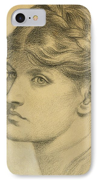 Study Of A Head For The Bower Meadow Phone Case by Dante Charles Gabriel Rossetti