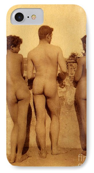 Study Of Three Male Nudes IPhone Case by Wilhelm von Gloeden