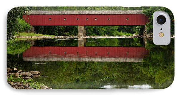 Summer Reflections At West Cornwall Covered Bridge IPhone Case by Thomas Schoeller