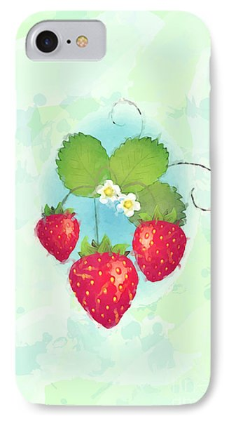 Summer Strawberries IPhone Case by Jane Rix