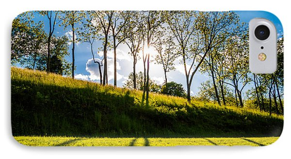 Sun Shining Through Trees And Shadows On The Grass At Antietam National Battlefield Maryland Phone Case by Jon Bilous