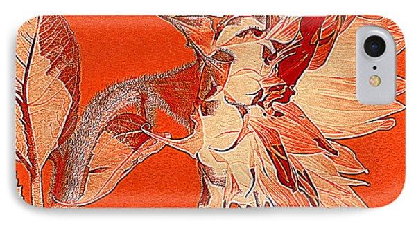 Sunflower - Orange Deco Burst IPhone Case by Janine Riley