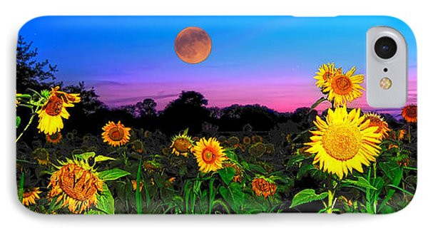 Sunflower Patch And Moon  Phone Case by Randall Branham