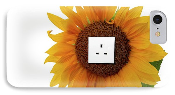 Sunflower With An Electrical Socket IPhone Case by Victor De Schwanberg