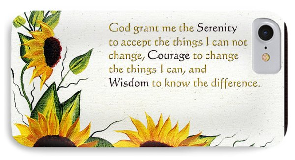 Sunflowers And Serenity Prayer Phone Case by Barbara Griffin