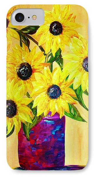 Sunflowers In A Red Pot Phone Case by Eloise Schneider