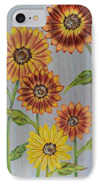 Sunflowers On Wood Panel I Phone Case by Elizabeth Golden
