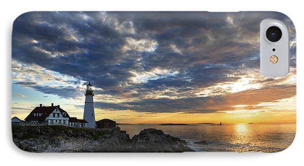 Sunrise At Portland Head Light IPhone Case by Diane Diederich