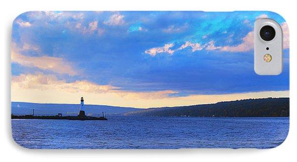 Sunrise On Cayuga Lake Ithaca New York Panoramic Photography Phone Case by Paul Ge