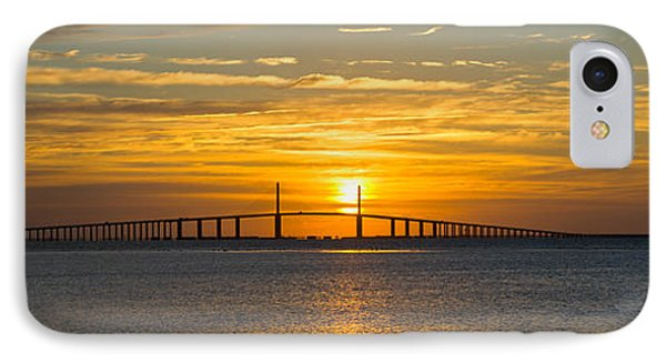 Sunrise Over Sunshine Skyway Bridge IPhone Case by Panoramic Images