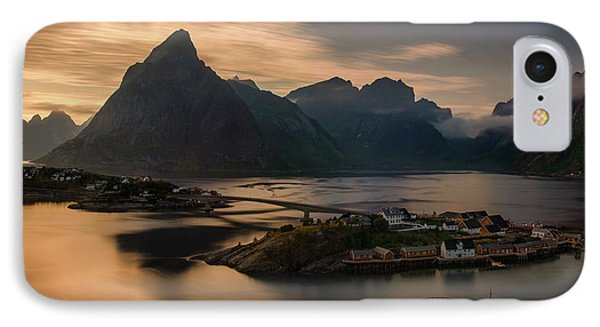 Sunset Above Sakrisoya Village IPhone Case by Panoramic Images