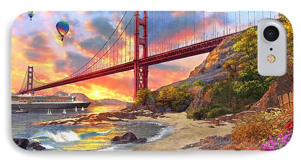 Sunset At Golden Gate IPhone 7 Case by Dominic Davison