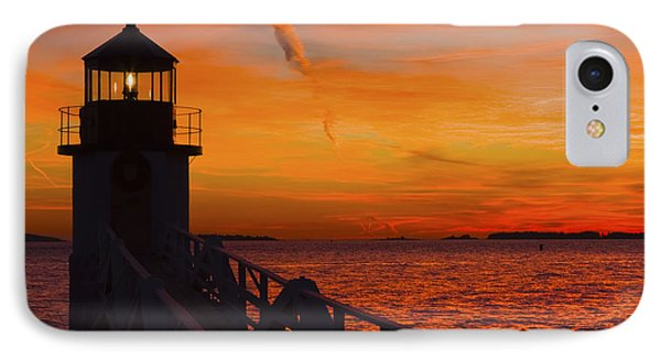 Sunset At Marshall Point Lighthouse At Sunset Maine IPhone Case by Keith Webber Jr