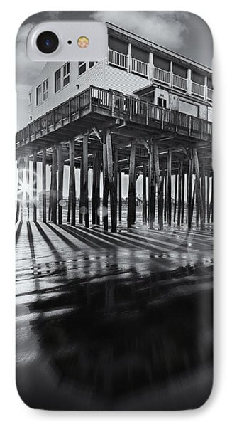 Sunset At The Pier Bw IPhone Case by Susan Candelario