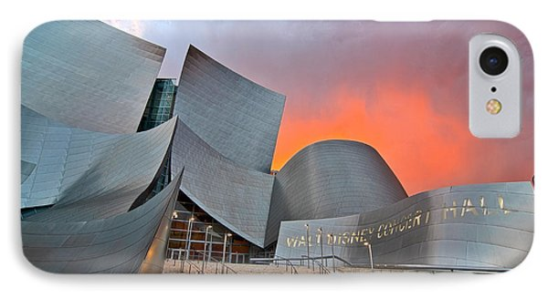 Sunset At The Walt Disney Concert Hall In Downtown Los Angeles. Phone Case by Jamie Pham