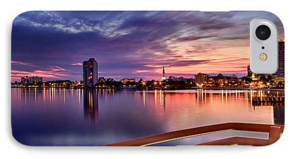 Sunset Balcony Of The West Palm Beach Skyline Phone Case by Debra and Dave Vanderlaan