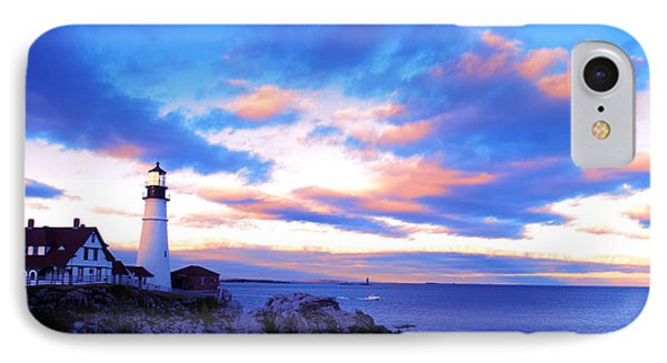Sunset In Fork Williams Lighthouse Park Portland Maine State IPhone Case by Paul Ge