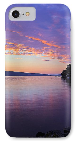 Sunset On Cayuga Lake Cornell Sailing Center Ithaca New York IIi IPhone Case by Paul Ge