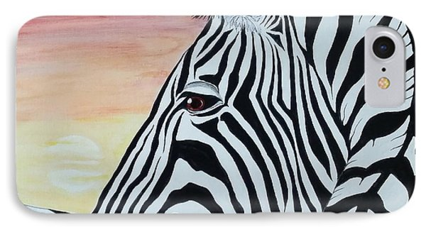 Sunset Zebra IPhone Case by Steven White