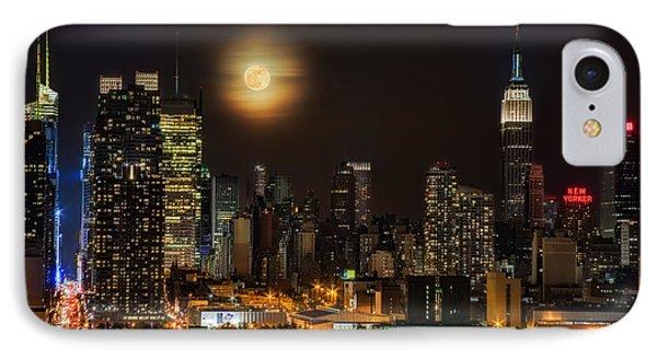 Super Moon Over Nyc IPhone Case by Susan Candelario