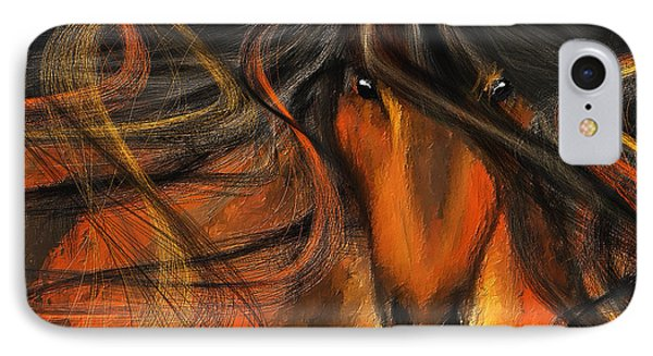 Equine Vagabond - Bay Horse Paintings IPhone Case by Lourry Legarde