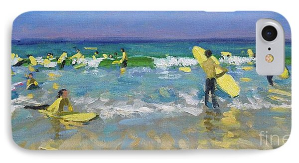 Surf School At St Ives IPhone Case by Andrew Macara