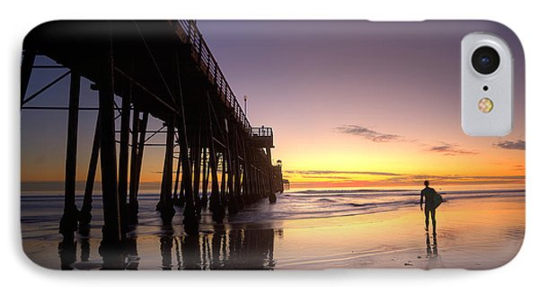 Surfer At Sunset Phone Case by Peter Tellone