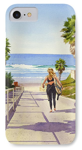 Surfer Girl At Fletcher Cove IPhone Case by Mary Helmreich