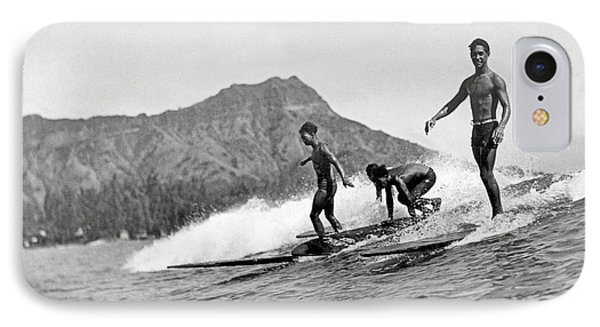 Surfing In Honolulu IPhone Case by Underwood Archives