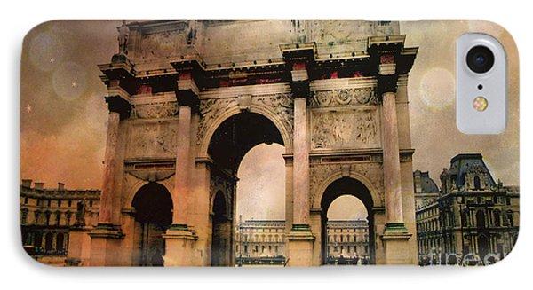 Surreal Paris Arc De Triomphe Louvre Arch Courtyard Sepia Soft Bokeh IPhone 7 Case by Kathy Fornal