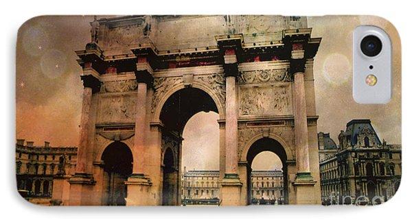Surreal Paris Arc De Triomphe Louvre Arch Courtyard Sepia Soft Bokeh IPhone Case by Kathy Fornal