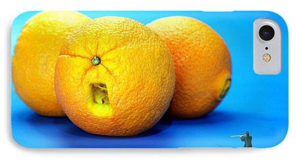 Surrender Mr. Oranges Little People On Food Phone Case by Paul Ge