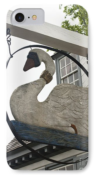 Swan Tavern Sign Yorktown IPhone Case by Teresa Mucha