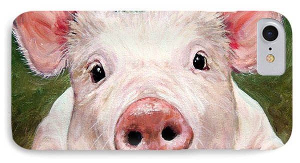 Sweet Little Piglet On Green IPhone Case by Dottie Dracos