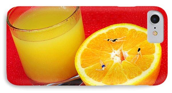 Swimming On Orange Little People On Food Phone Case by Paul Ge