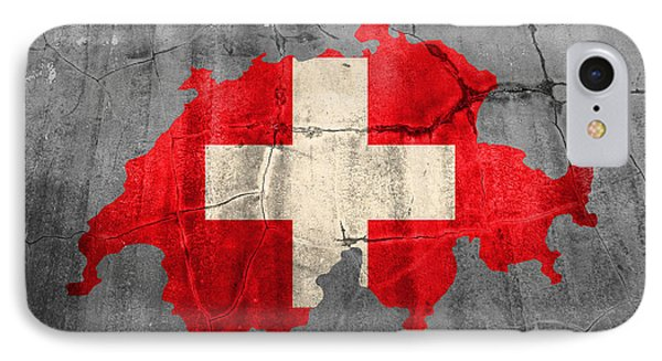 Switzerland Flag Country Outline Painted On Old Cracked Cement IPhone Case by Design Turnpike