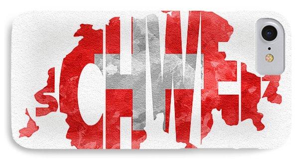 Switzerland Typographic Map Flag IPhone Case by Ayse Deniz