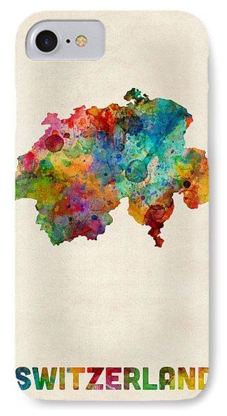 Switzerland Watercolor Map IPhone Case by Michael Tompsett