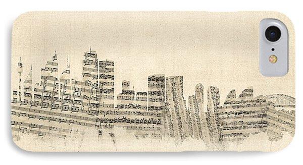 Sydney Australia Skyline Sheet Music Cityscape IPhone Case by Michael Tompsett