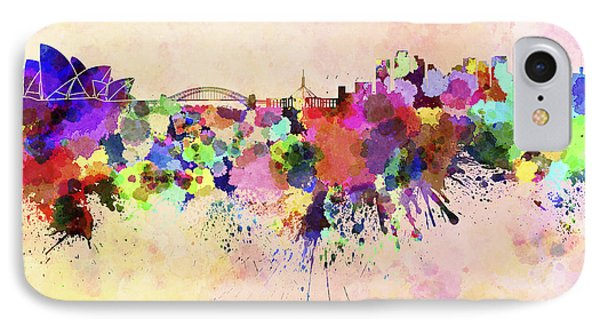 Sydney Skyline In Watercolor Background IPhone 7 Case by Pablo Romero