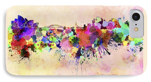 Sydney Skyline In Watercolor Background IPhone Case by Pablo Romero