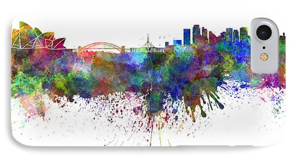 Sydney Skyline In Watercolor On White Background IPhone 7 Case by Pablo Romero
